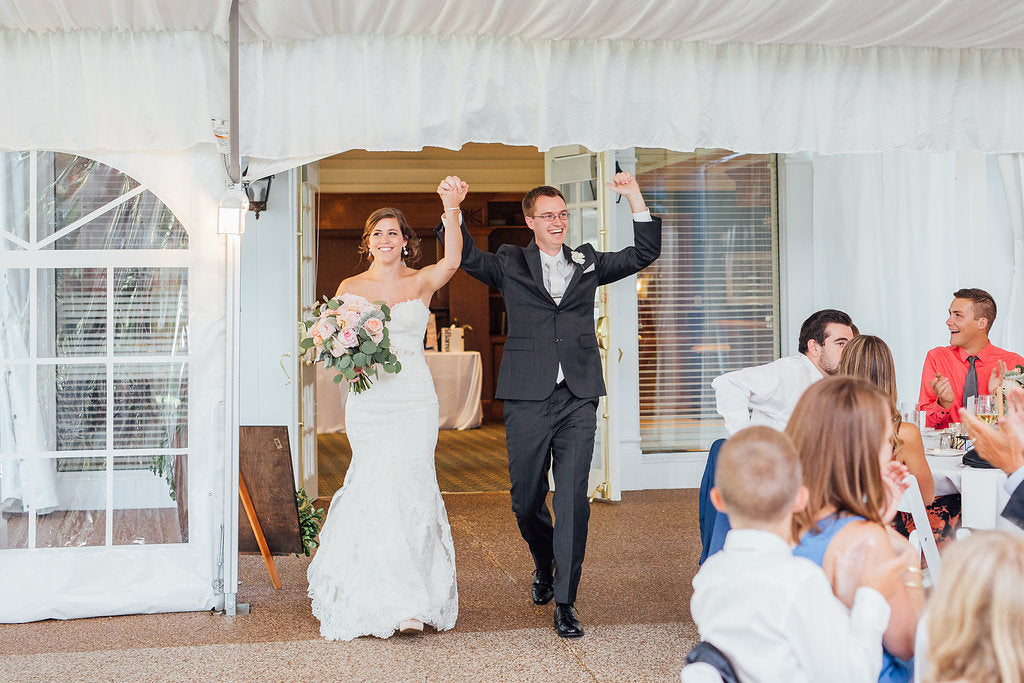 The grand entrance for the bride and groom! | A Simple & Stunning Sage Wedding | Kennedy Blue | Rachel Figueroa Photography