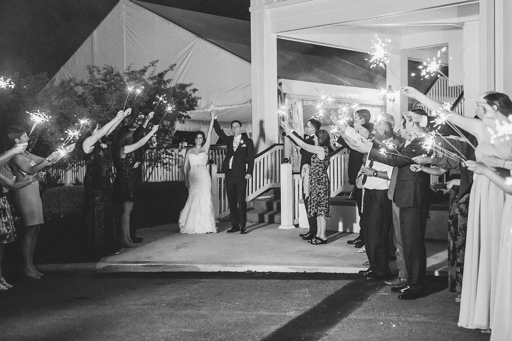 The bride and grooms send off! | A Simple & Stunning Sage Wedding | Kennedy Blue | Rachel Figueroa Photography
