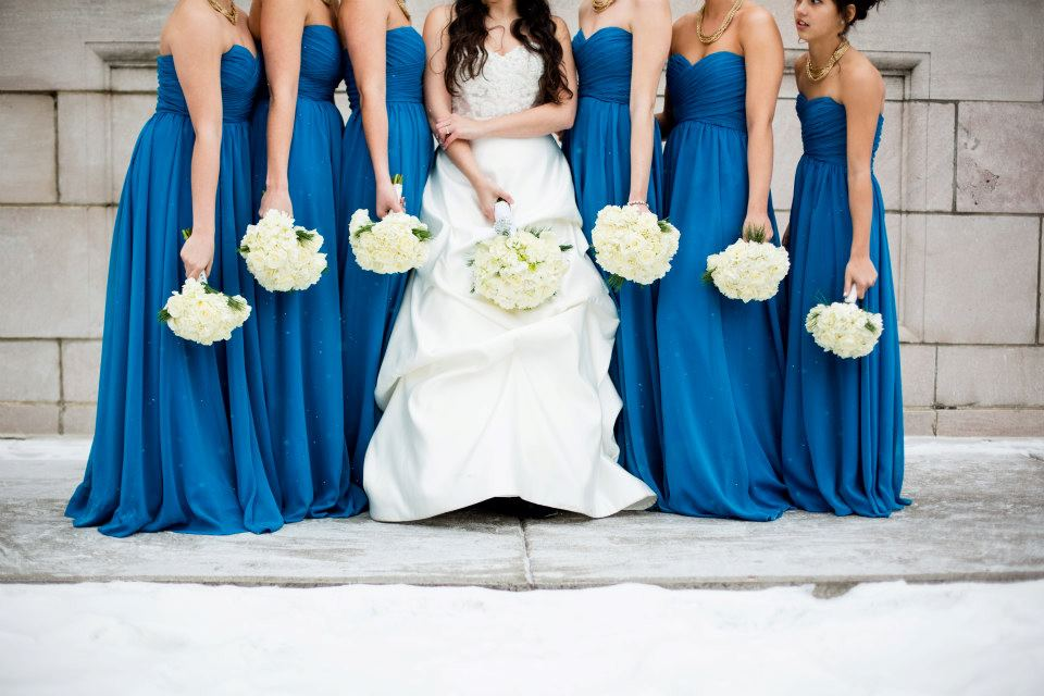 Choose long chiffon bridesmaid dresses for your winter wedding!