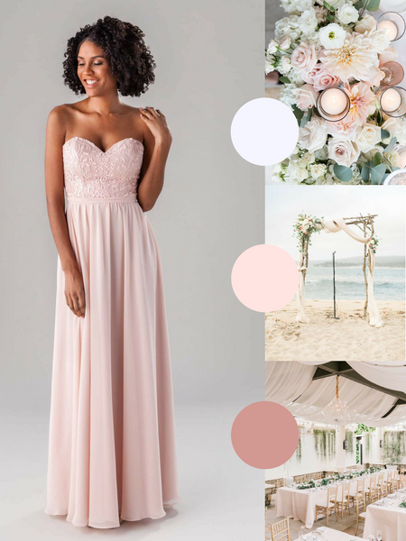 June Kennedy Blue Bridesmaid Dress in Blush | The Best Beach Wedding Colors for Your Destination Wedding