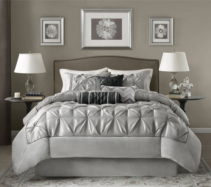 This elegant silver and grey comforter set is a great addition to the wedding registry | The Bride's Ultimate Guide to Creating the Perfect Wedding Registry | Kennedy Blue