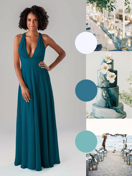 Hope Kennedy Blue Bridesmaid Dress in Marine | The Best Beach Wedding Colors for Your Destination Wedding