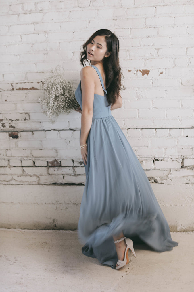 Slate Blue Bridesmaid Dress | Moody Styled Shoot | Kennedy Blue Dresses