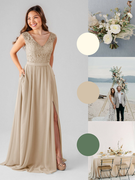 Natalie Kennedy Blue Bridesmaid Dress in Latte | The Best Beach Wedding Colors for Your Destination Wedding
