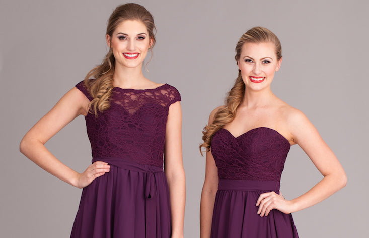 Kennedy Blue Lace-Top Bridesmaid Dresses