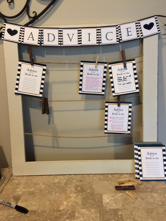 This advice board is so cute for bridal showers!! | 52 Awesome Bridal Shower Ideas | Kennedy Blue | EleganceBoutique86