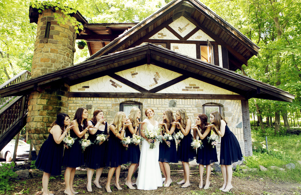 flowy blue bridesmaid dresses are so simple but so stylish! | Beautiful Navy Bridal Parties | Kennedy Blue | Hannah Schmitt Photography