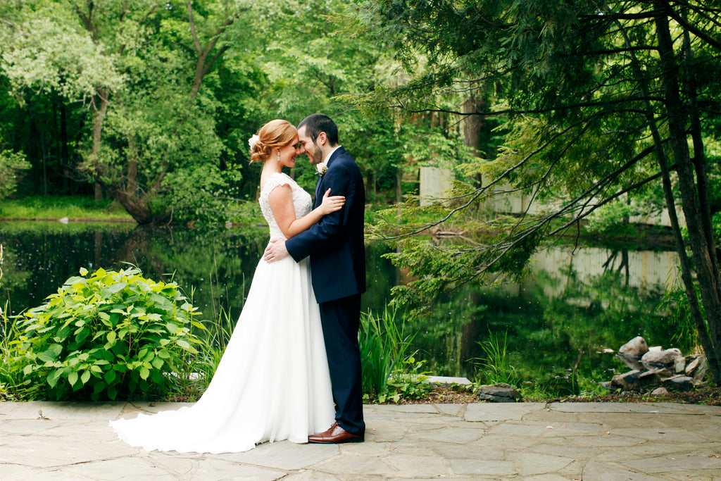 A beautiful moment between a bride and groom at their summer wedding | Wedding 101: Finding Your Wedding Aesthetic | Kennedy Blue