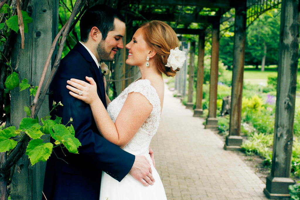 Beautiful bride and groom wedding photo