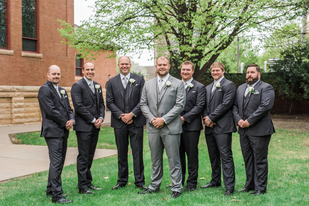 grey groomsmen suits