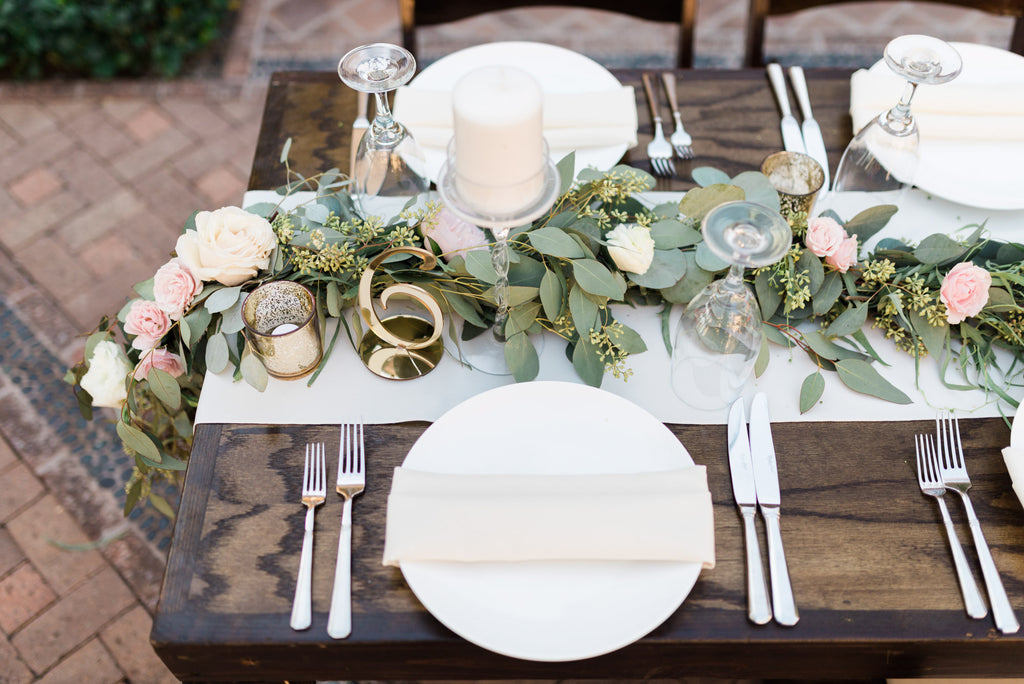 A green and blush pink rustic table setting  | Cassie And Roberts Romantic Rustic Wedding | Kennedy Blue