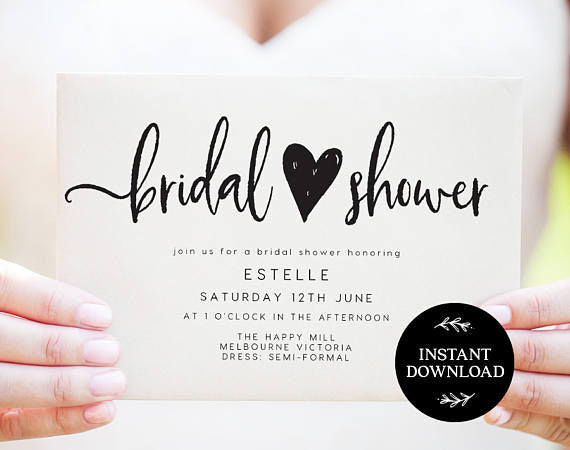 Cute simple black and white bridal shower invitations! | 52 Awesome Bridal Shower Ideas | Kennedy Blue | PlumhollowPaperie