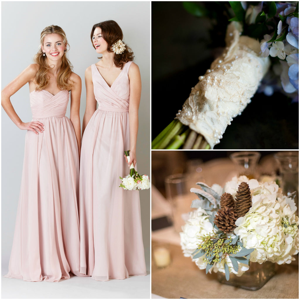 Kennedy Blue Blush Chiffon Bridesmaid Dresses for a Rustic Wedding