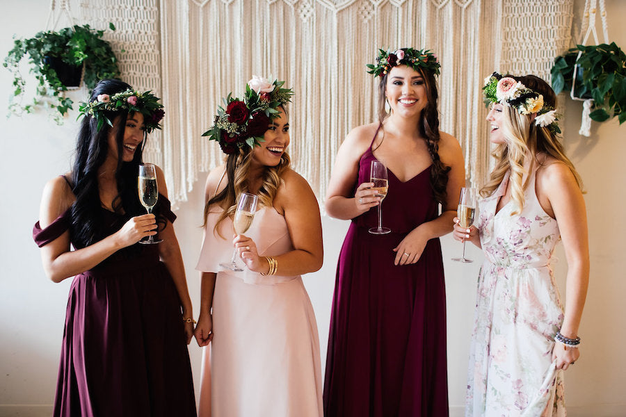 Bridesmaids in Bohemian Dresses with backdrop | Boho Styled Shoot