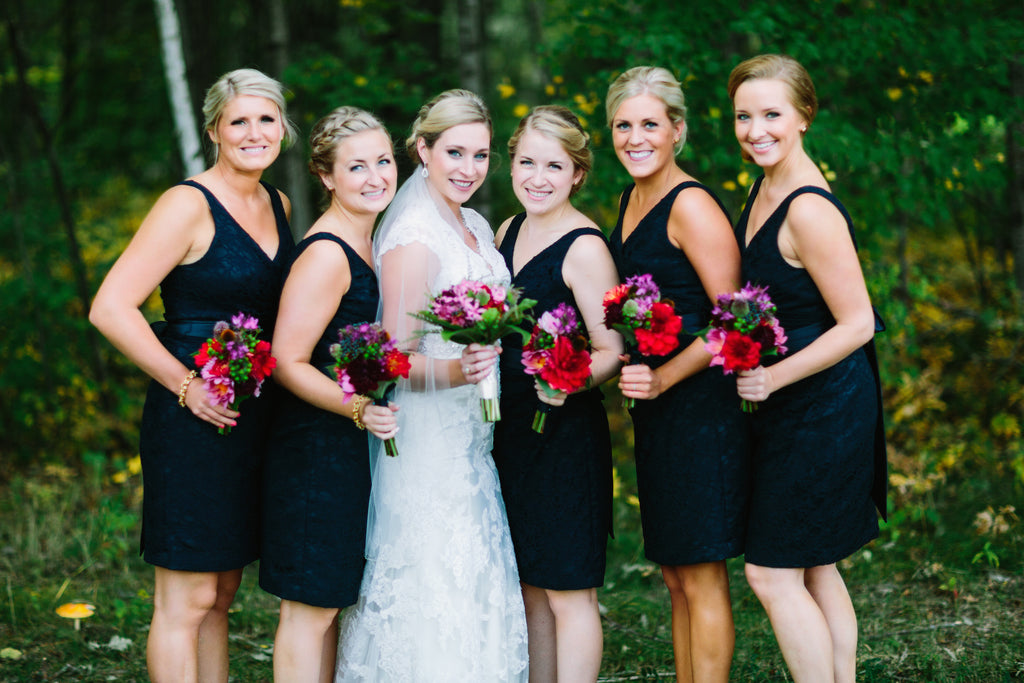 Strapped navy lace bridesmaid dresses | A Nautical-Inspired Wedding Day