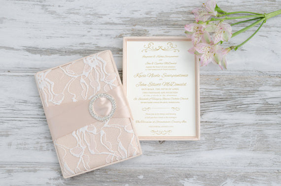 These boxed lace bridal shower invites are so unique! | 52 Awesome Bridal Shower Ideas | Kennedy Blue | CutInvites