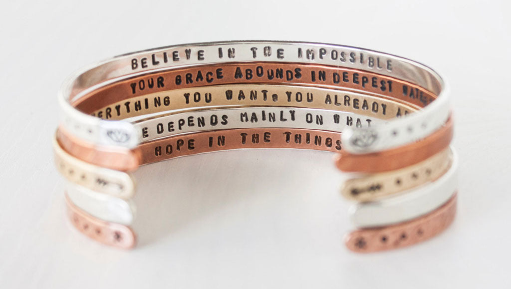 A hand-stamped inspirational quite bracelet from ZennedOut