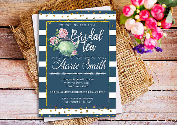 'Bridal Tea In Honor Of The Bride-To-Be' is such a catchy phrase for a cute bridal shower invitation! | 52 Awesome Bridal Shower Ideas | Kennedy Blue | HappyPartyStudio