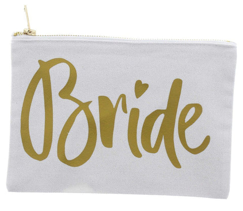 White Canvas Bride Makeup Bag | Affordable Beauty Products for Brides-to-Be | Kennedy Blue