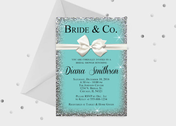 Cute Bride & Co. (tiffanys) bridal shower invitations! | 52 Awesome Bridal Shower Ideas | Kennedy Blue | SimpleandStunning2