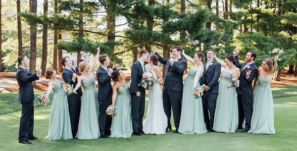 Sage Green Bridesmaid Dresses with Dark Suits