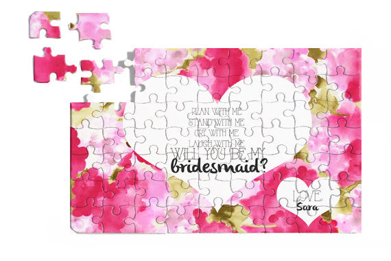 'Will you be my bridesmaid?' personalized jigsaw puzzle. | The Ultimate List of Bridesmaid Proposal Ideas - 25 Creative Ways to ask Your Bridesmaids