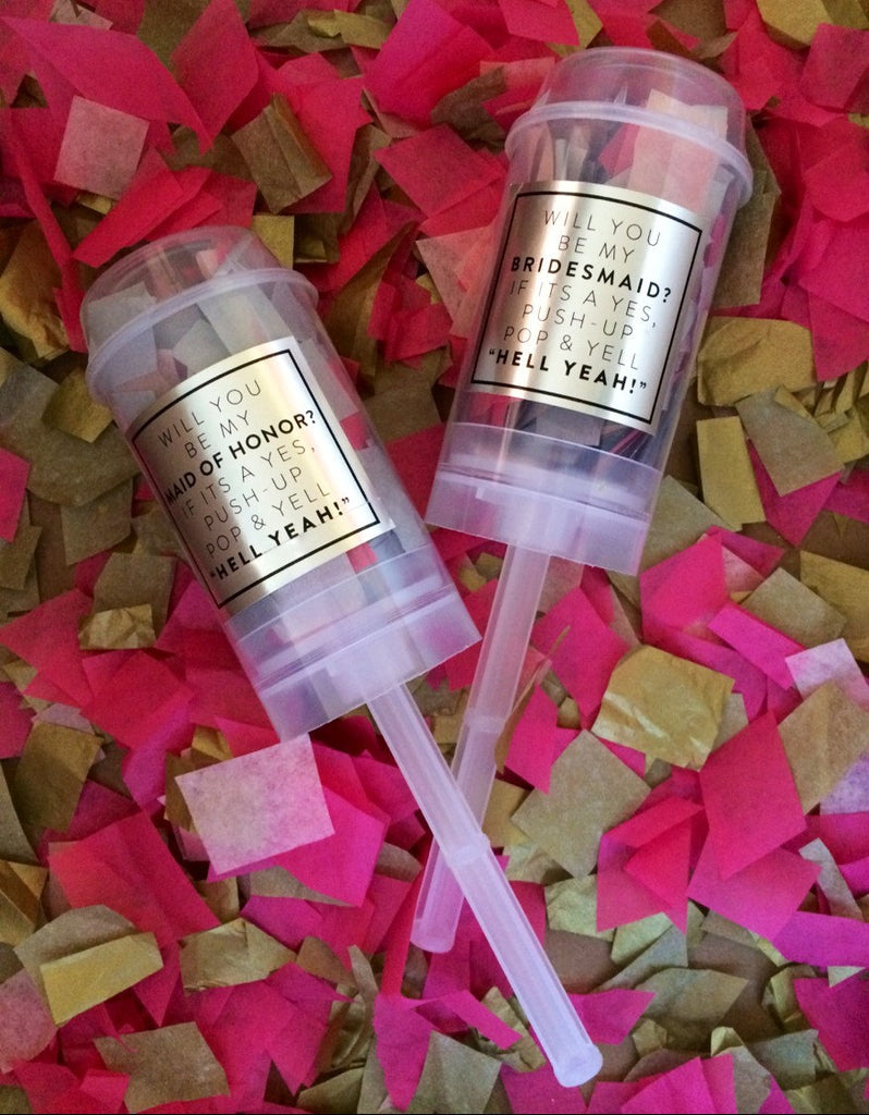'Will you be my bridesmaid?' confetti poppers. | The Ultimate List of Bridesmaid Proposal Ideas - 25 Creative Ways to ask Your Bridesmaids