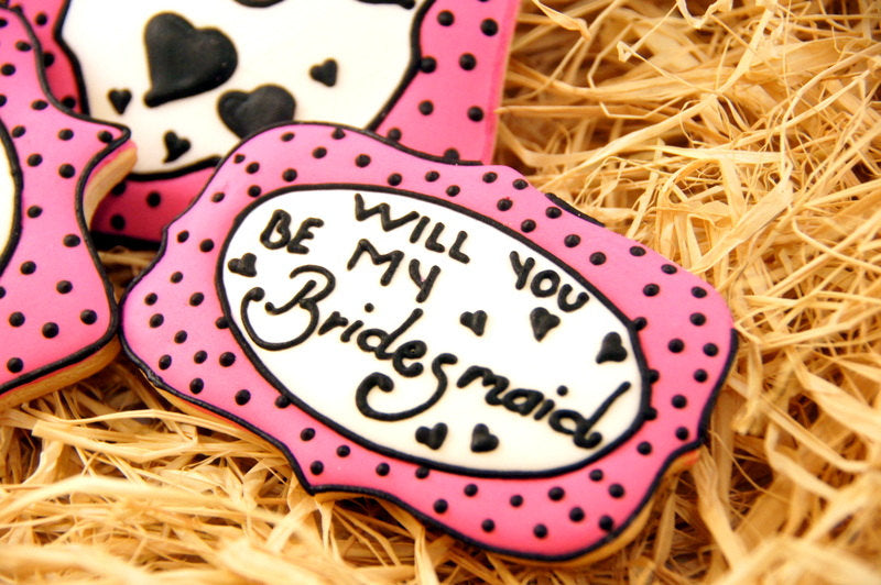 'Will you be my bridesmaid?' cookies. | The Ultimate List of Bridesmaid Proposal Ideas - 25 Creative Ways to ask Your Bridesmaids