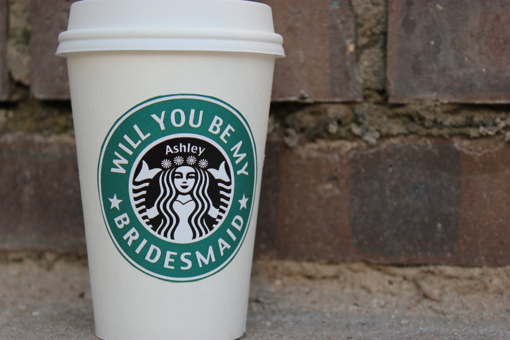 A personalized 'will you be my bridesmaid?' Starbucks label. | The Ultimate List of Bridesmaid Proposal Ideas - 25 Creative Ways to ask Your Bridesmaids