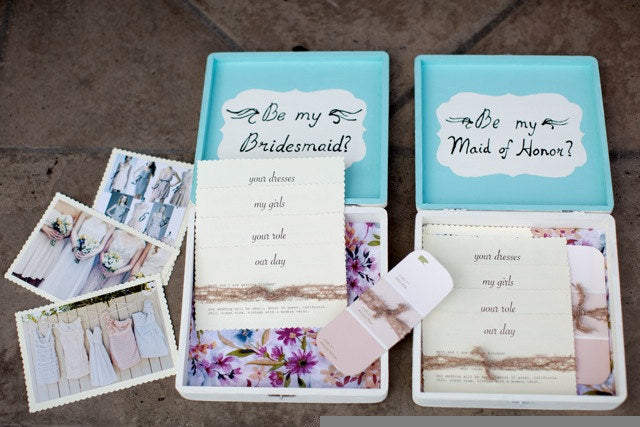 'Will you be my bridesmaid?' box. | The Ultimate List of Bridesmaid Proposal Ideas - 25 Creative Ways to ask Your Bridesmaids