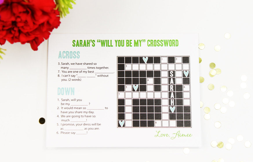 'Will you be my bridesmaid?' crossword puzzle card. | The Ultimate List of Bridesmaid Proposal Ideas - 25 Creative Ways to ask Your Bridesmaids