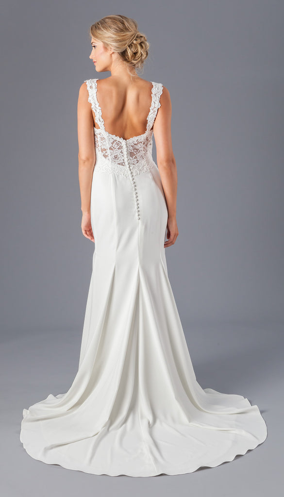 A Lace and Crepe Sheath Bridal Gown with Straps | Affordable Bridal Gowns Under $1500 | Kennedy Blue