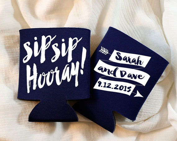 These custom can coolers make a great bridal shower party favor! | 52 Awesome Bridal Shower Ideas | Kennedy Blue | SipSipHooray