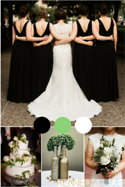 Black, sage green, and white, the perfect wedding color palette for fall! | Your Ultimate Guide to Fall Weddings | Kennedy Blue