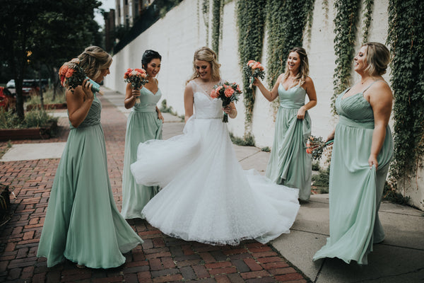 Kennedy Blue sage green bridesmaids dresses