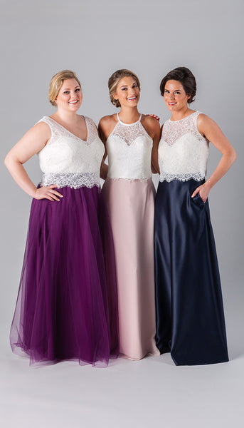 Two piece bridesmaid dresses are perfect for a boho wedding party. Mix and match skirts and tops for a unique look! | Kennedy Blue