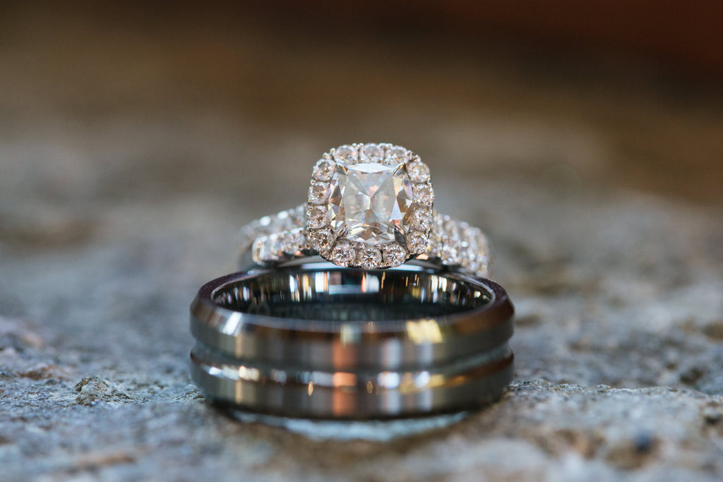 The stunning diamond engagement ring. | An East Coast Wedding in Mismatched Bridesmaid Dresses
