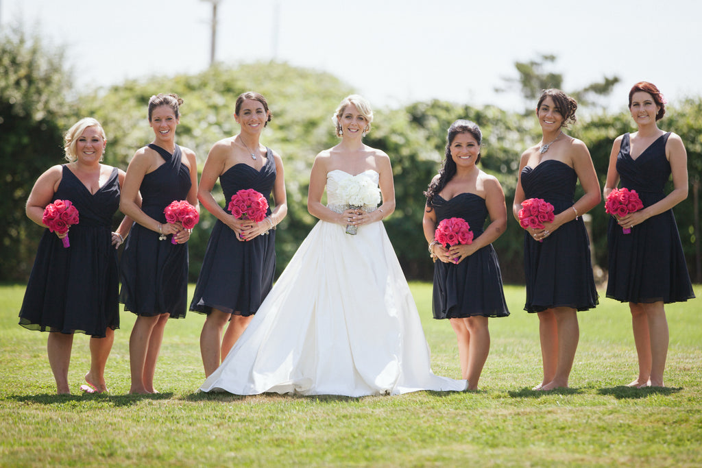 Mix and match navy bridesmaid dresses in short chiffon. | An East Coast Wedding in Mismatched Bridesmaid Dresses