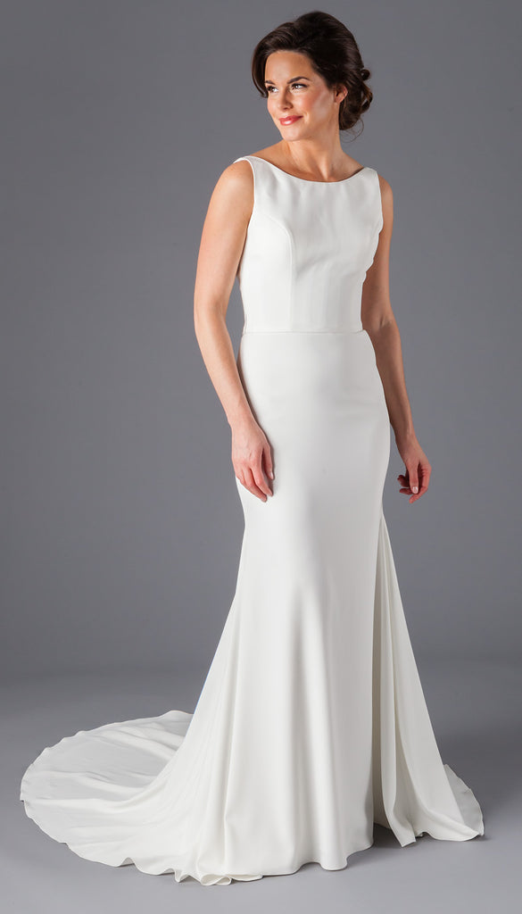 A Chic Crepe Bridal Gown With an Open Back | Affordable Bridal Gowns Under $1500 | Kennedy Blue