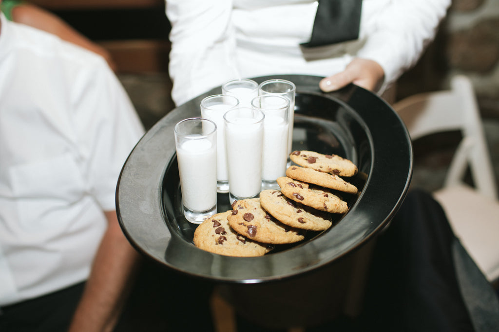 Milk and cookie reception appetizers that we can get down with. | An East Coast Wedding in Mismatched Bridesmaid Dresses