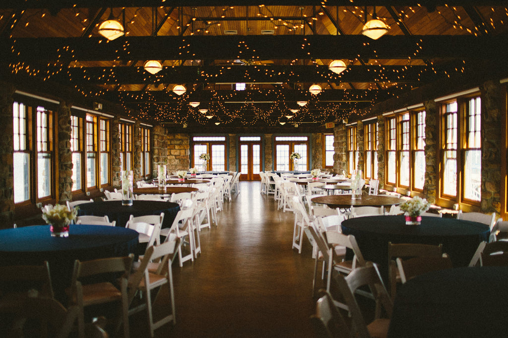 A gorgeous wedding venue styled in lights. | An East Coast Wedding in Mismatched Bridesmaid Dresses