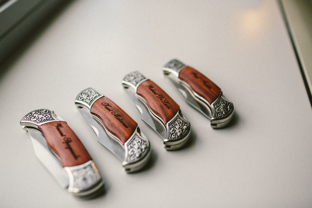 Personalized pocket knives as groomsmen gifts. | An East Coast Wedding in Mismatched Bridesmaid Dresses