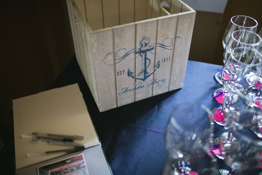 A great, nautical guest book idea. | An East Coast Wedding in Mismatched Bridesmaid Dresses