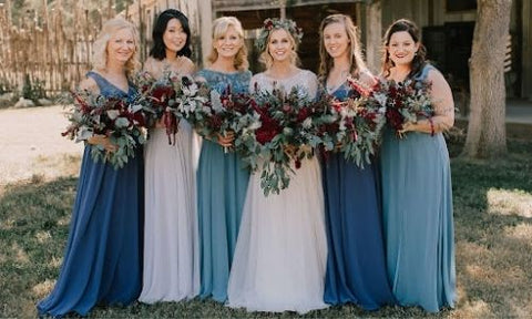 Different Shade Dusty Blue Bridesmaid Dresses