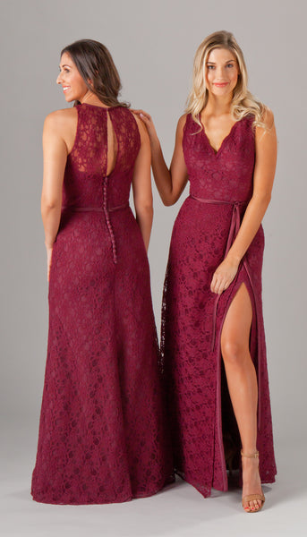 Lace perfection, Eleanor and Finley are two gorgeous lace bridesmaid dresses from Kennedy Blue | Your Ultimate Guide to Fall Weddings | Kennedy Blue styles Eleanor and Finley featured in bordeaux