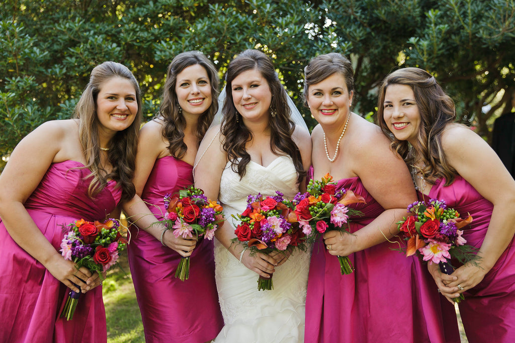 Kennedy Blue pink bridesmaid dresses in berry are perfect for fall.