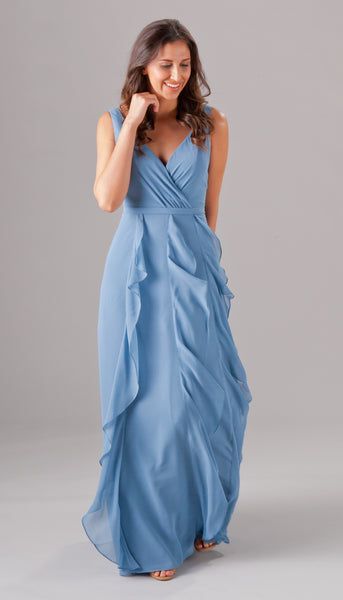 We love the flowy ruffled texture of this bridesmaid dress! | Kennedy Blue style Everly is featured in slate blue