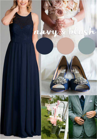 A navy and blush pink wedding color palette| The Ultimate Guide to Choosing Your Perfect Bridesmaid Dress Colors