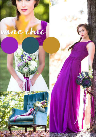 A fall wedding color palette featuring wine purple, teals, and golds | The Ultimate Guide to Choosing Your Perfect Bridesmaid Dress Colors