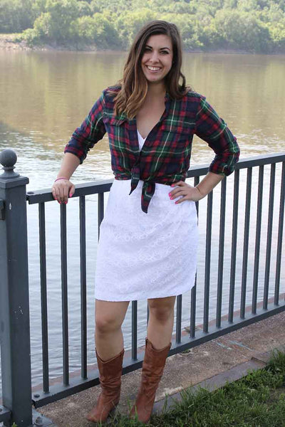 Pair a short bridesmaid dress with a flannel top. | How to Re-Style A Bridesmaid Dress For Fall